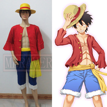 Free shipping Cosplay One piece Costumes One piece Monkey D. Luffy cosplay Set T Shirt+Pants+Hat+yellow belt