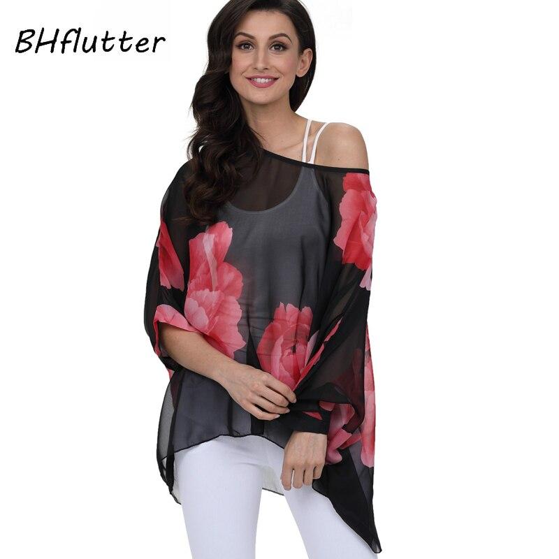BHflutter 4XL 5XL 6XL Plus Size Women Clothing 2018 Summer Style Women Tops Blouses Batwing Floral Print Chiffon Blouse Blusas