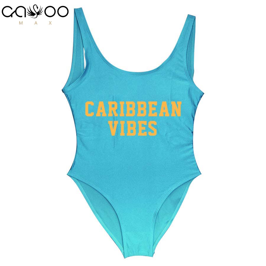 CARIBBEAN VIBES Women Sexy One Piece Swimsuit Letter Swimwear Monokini Female Bathing Suits High Cut Swimming Suits Jumpsuit