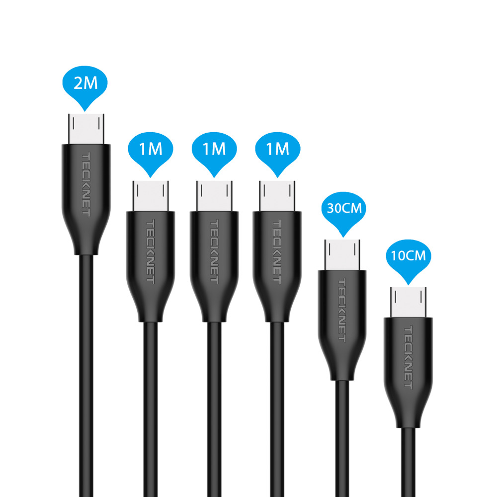 6 Pieces TeckNet Premium Micro USB Cable Charger High Speed s
