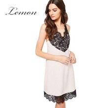Lemon Sexy White Cami Strap Mini Dress Women Black Lace Contrast Casual Chic A line Dress