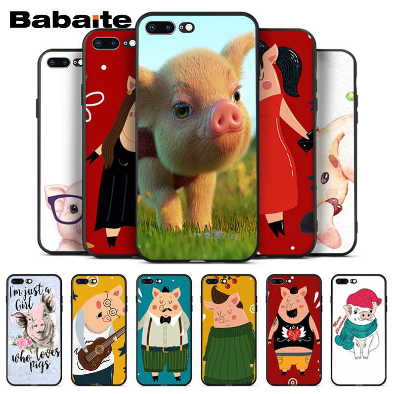 Babaite For coque iphone 8 plus pig Phone Cases Soft Silicone Capa For Apple iPhone 8 7 6 6S Plus X XS MAX 5 5S SE XR Cover in Half wrapped Cases from Cellphones Telecommunications