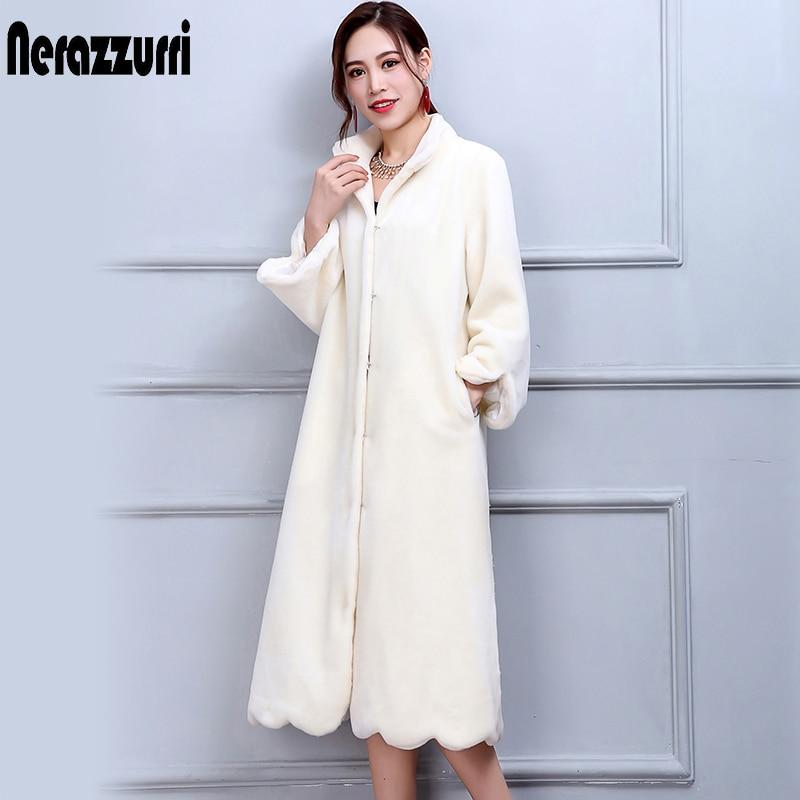 Nerazzurri Winter Real Fur Coat Women Long Elegant Warm large Size Wool Sheep Overcoat 5XL 6XL