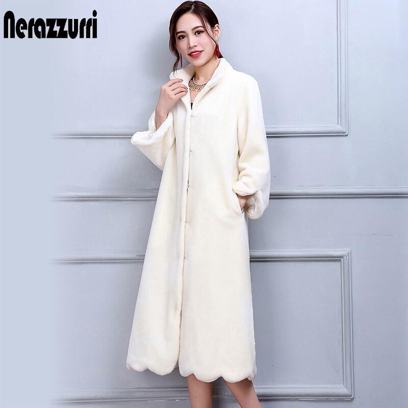 Nerazzurri Verdadeiro Casaco De Pele de Inverno Mulheres De Longo Elegante Quente Tamanho grande Casaco de Lã de Ovelha 5XL 6XL 7XL Branco Genuine Cordeiro casacos de peles