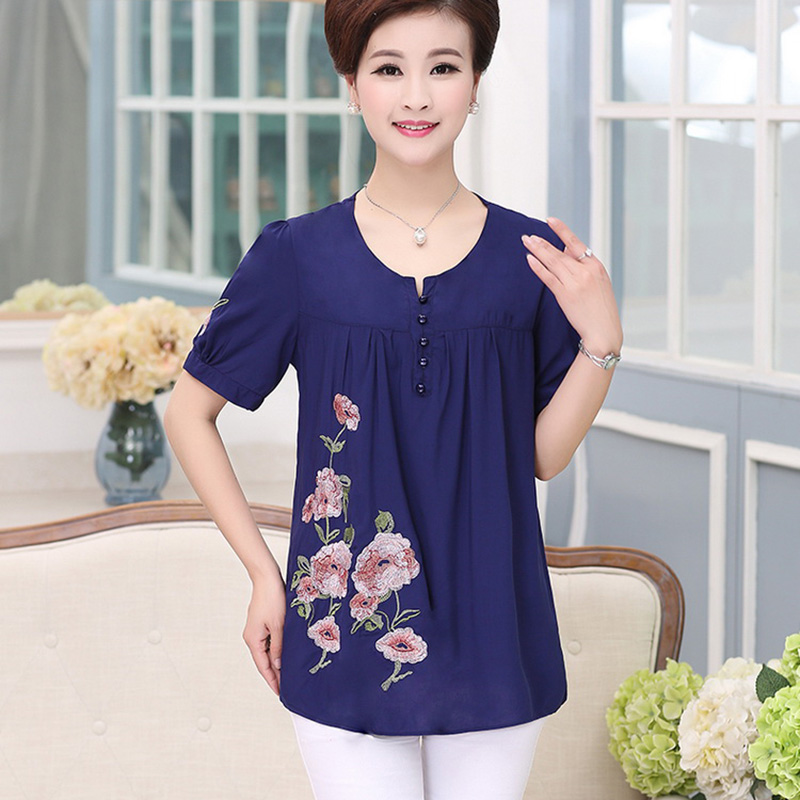 2018 Middle-aged T-Shirt Womens Summer large size T-Shirt Women cotton short-sleeved printing Tops mother clother loose T-shirt