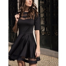 2018 Women Dress Spring Summer European Style Ladies Knee Length Vintage Mesh Sexy Black Party Dresses Vestidos Black Dress S-XL