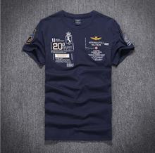 "2016 New summer Cotton AERONAUTICA MILITARE Air Force One T-shirt Embroidery Aeronautica "" Military"" Men Military T-shirt"