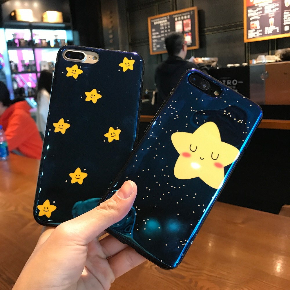 KJYKJ Smile Star Phone Case For iphone 7 6 6s 8 Plus Lovely Blue Light Moon Night Starry sky Soft Cases For iphone X Back Cover