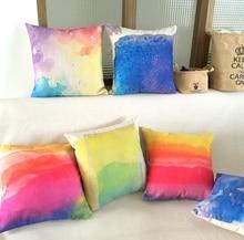 New Linen Pillow Cover Watercolor Cushion Cover Nordico Style Home Decorative Pillow Case 45x45cm