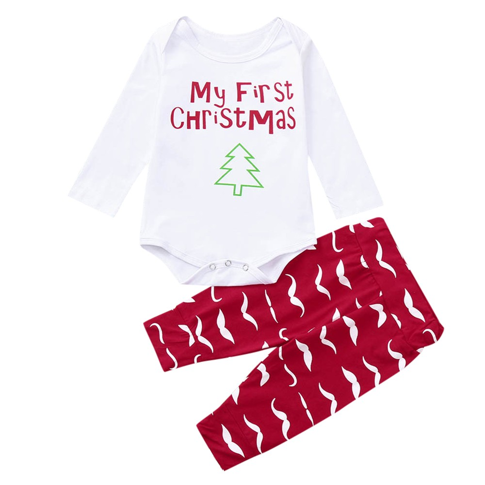 ARLONEET Christmas Clothes Children Baby Girls boys Cartoon Christmas tree 2PCS Long Sleeves  Romper Cloth 2018 Christmas  Style