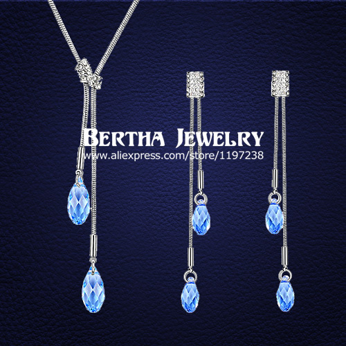 Latest Style Unique Charming Statement Jewelry Sets Earrings Necklaces Pendants For Women Crystals from Swarovski Top Quality цена