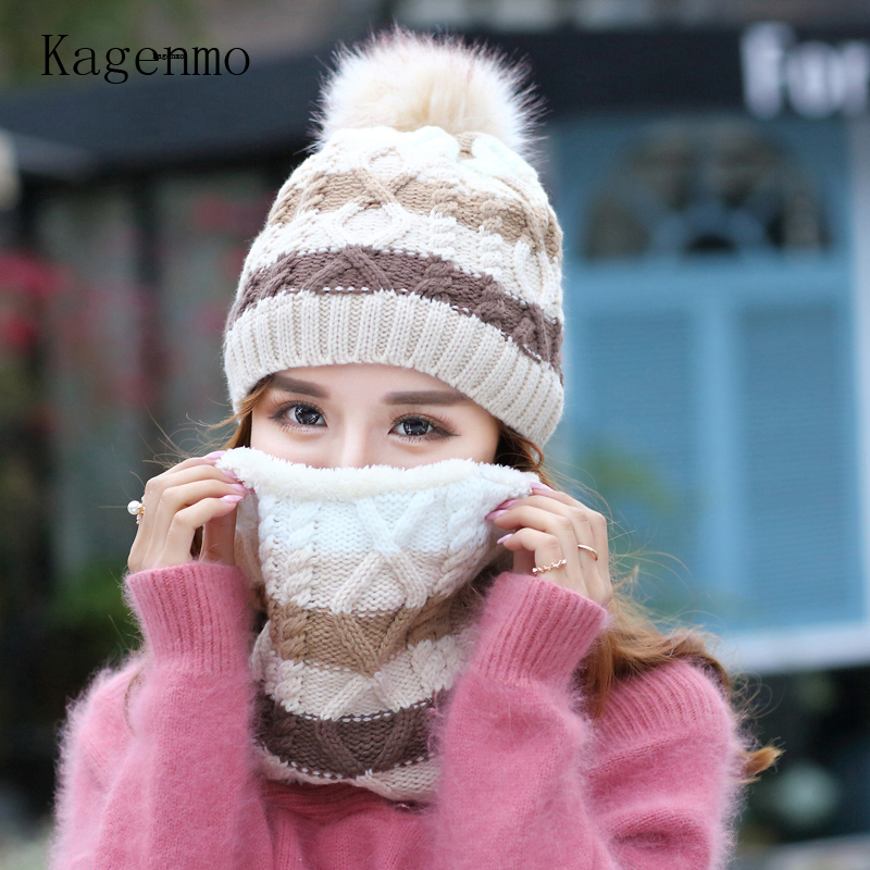 Kagenmo New Woolen Knit Cap And Scarf Thick Villus Keep Warm Female Twinset Outdoor Windproof Face Neck Protection For Women