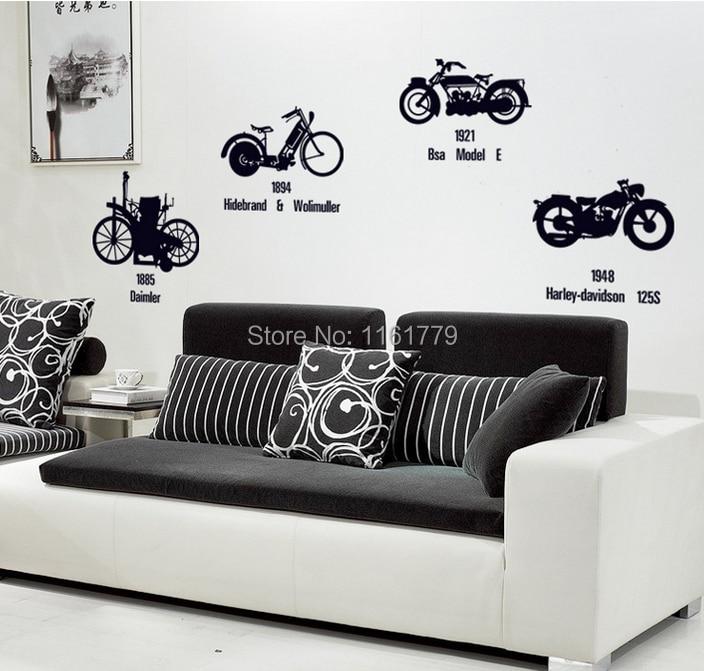 Aliexpresscom  Buy LP Creative Black Bicycle Motorcycle DIY Wall - Wall decals entryway