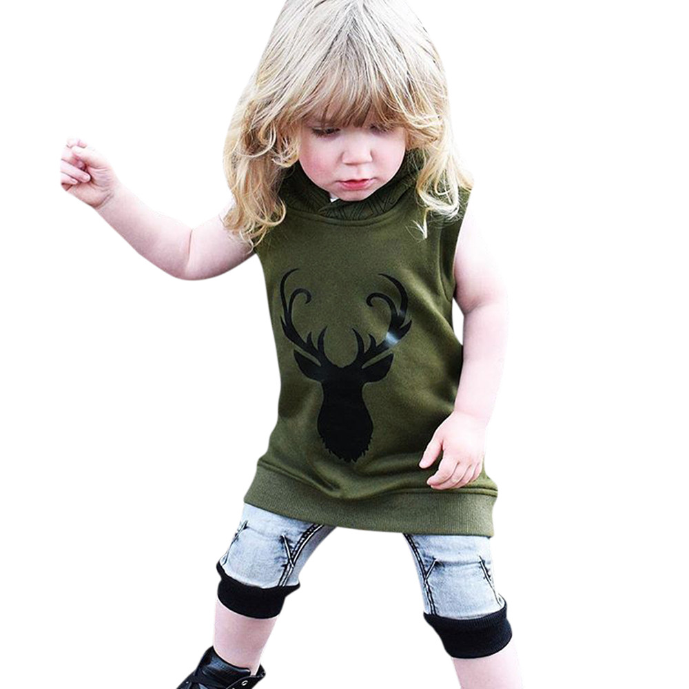 SMT_ZJM Baby Fashion Clothes Boys Girls Summer Sleeveless Hoodies Casual Deer Print Sweatshirt Hooded Vest Tops Camisola