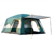 цена на Large Family Camping Tent 6/8/10/12 Person Double Layer 2 Living Rooms 1 Hall Marquee Party Tent Outdoor Camping Tourism