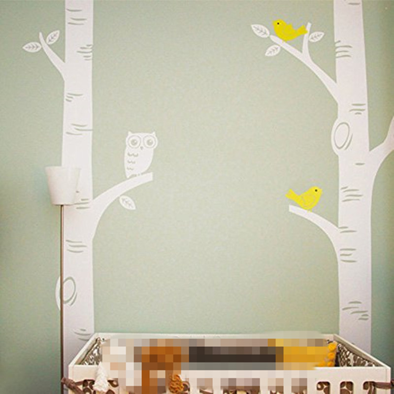 Aliexpress.com : Buy 2016 Cute Owl Birds Birch Tree Wall Sticker Decal  Wallpaper Mural Nursery Baby Forest Home Background Decoration 250*250CM  D639 From ... Part 73