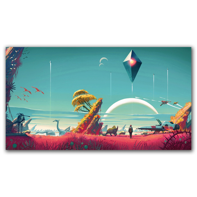 FOOCAME No Man's Sky Fantasy Video Games Art Silk Poster Print Home Decor Painting 11x20 16x29 20x36 24x43 30X54 Inches
