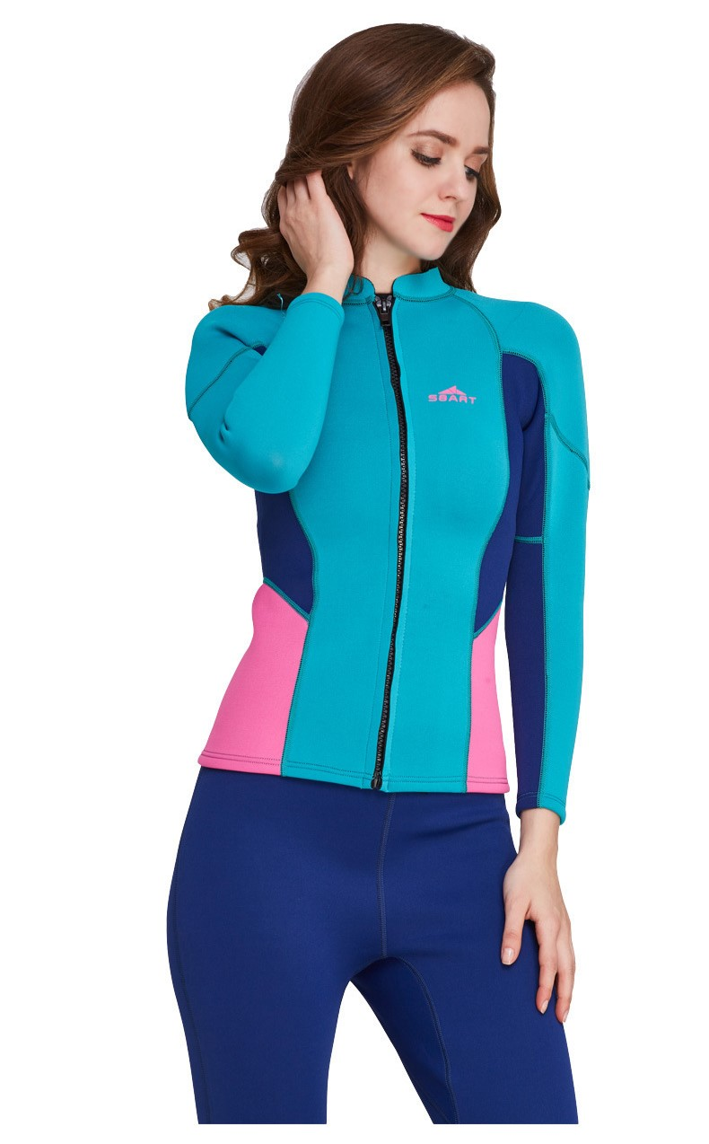 Neoprene 2MM Women Snoeling Shirts+Pants Wetsuits Water Clothes Nylon Two Piece Rash Guard Jacket Trousers BathingSuit SwimSuits