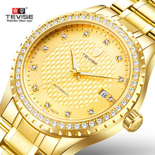 TEVISE אופנה זהב שחור יוקרה נירוסטה שעונים האוטומטיים עצמי רוח גברים צפו תאריך אוטומטי מכאני T807A