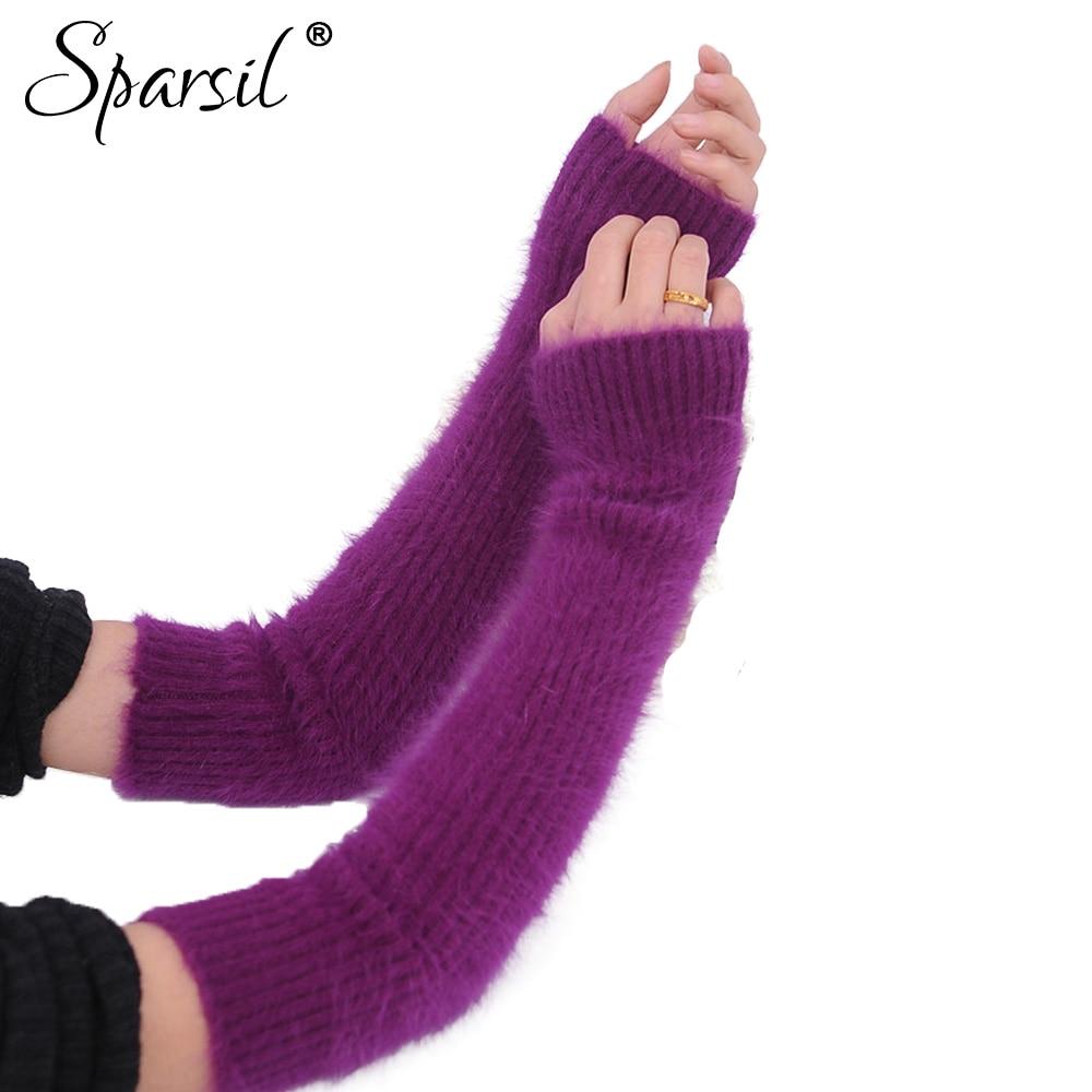 Sparsil Women's Mink Cashmere Long Fingerless Gloves Thicken Solid Color Elbow Gloves Soft Warm Autumn Winter Women Mittens