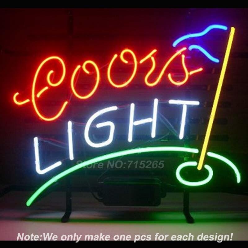 Coors Light font b Golf b font Neon Light Sign Real Glass Tube Neon Bulbs Beer