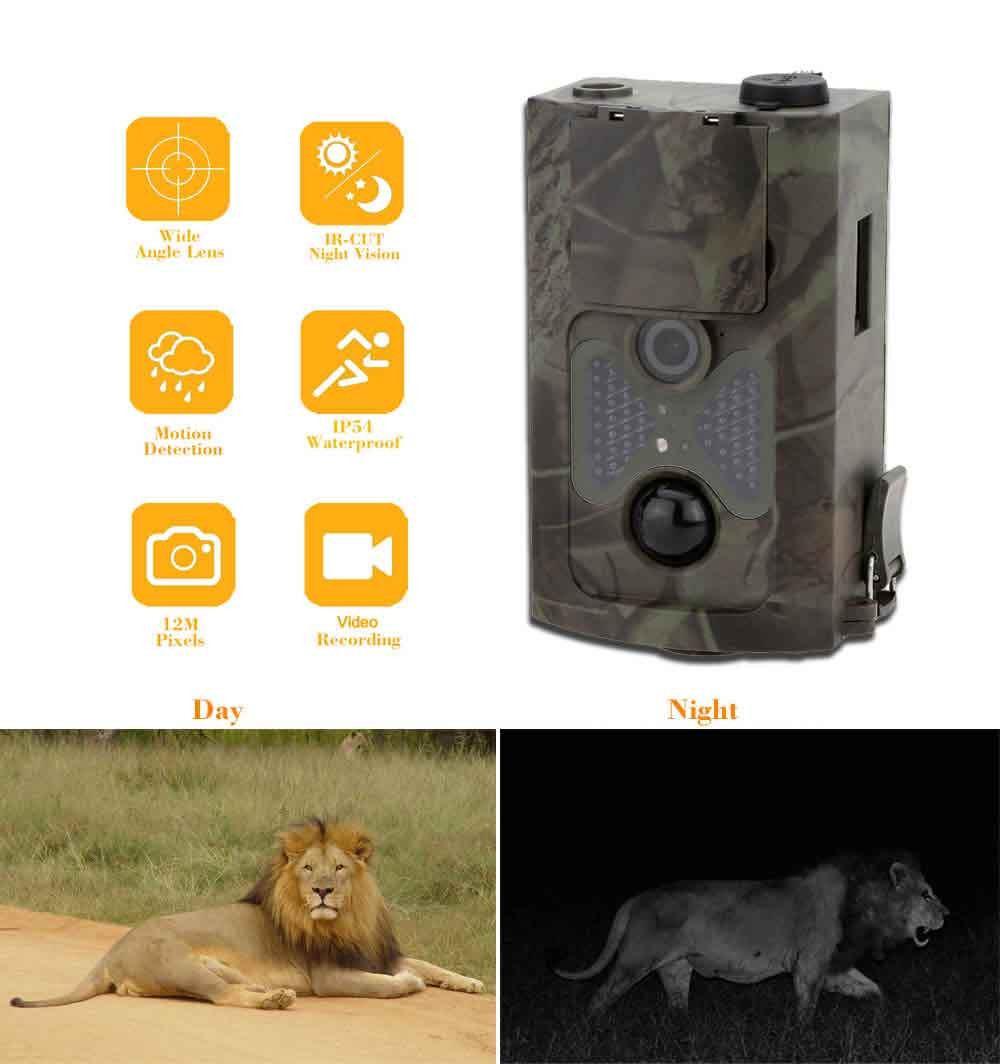12MP Digital Scouting Trail Camera 940NM Invisible Infrared Hunting Camera 2.0' LCD Hunter Cam HC500A 940nm trail hunting camera hc300 hd 1080p digital infrared scouting camera 2 0 lcd ir hunter cam