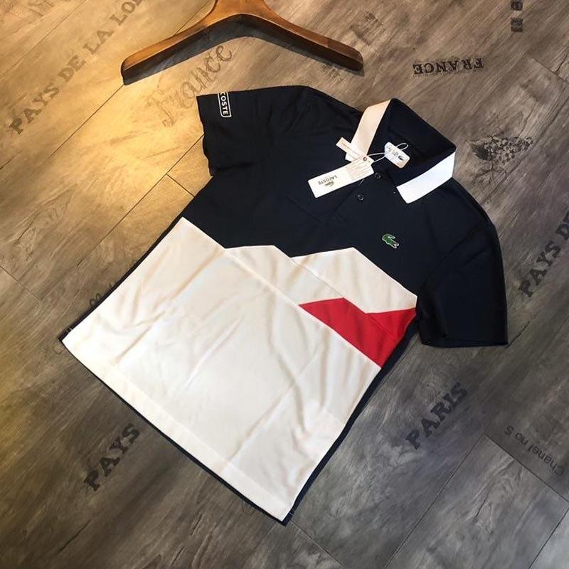 Lacoste hommes T Shirt 2019 décontracté rayure chemises été mode à manches courtes t-shirts Slim Fit top T-shirts chine taille M-2XL