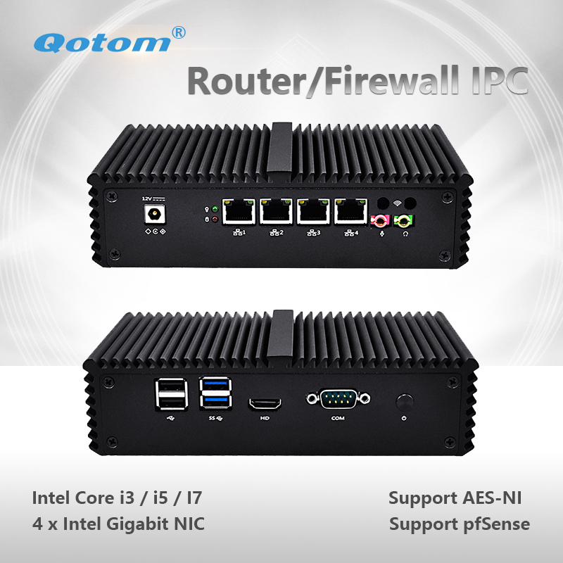 Qotom Mini PC Q300G4 Core i3 i5 i7 with 4 Gigabit NIC Support AES-NI Pfsense as Router Firewall Fanless Small Computer PC Box road mountain bike mtb bar end aluminum alloy folding bicycles handlebar handle bar ends