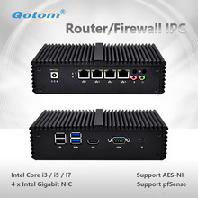 Qotom Mini PC Q300G4 Core i3 i5 i7 with 4 Gigabit NIC Support AES-NI Pfsense as Router Firewall Fanless Small Computer PC Box(China)