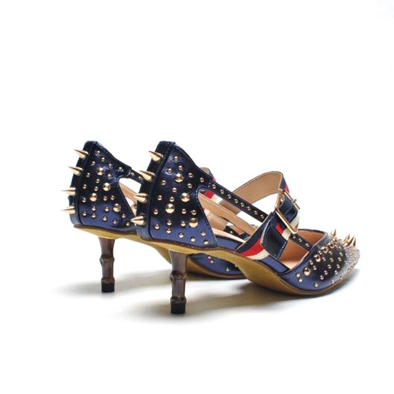 Haute Noble En Amour De 2018 Luxe Chentel Pointes À Rivets as Bleu Talons Boucle Picture Mulher Marque Picture As Femme Sangle Noir Sapatos Pompes Blanc Cuir CxwZw