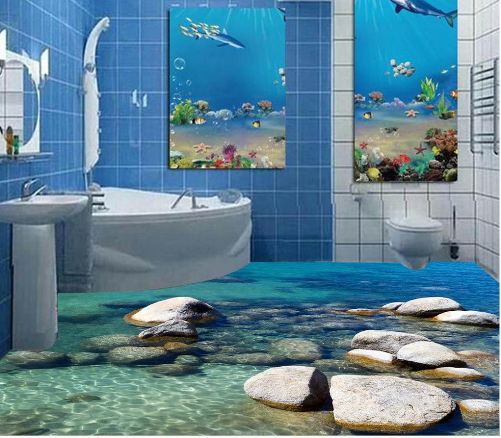 Wallpaper Murals For Bathrooms Us 50 3d Stereoscopic Stone Water 3d Wall Murals Wallpaper Floor 3d Wallpaper Floor For Living Room Home Decoration In Wallpapers From Home