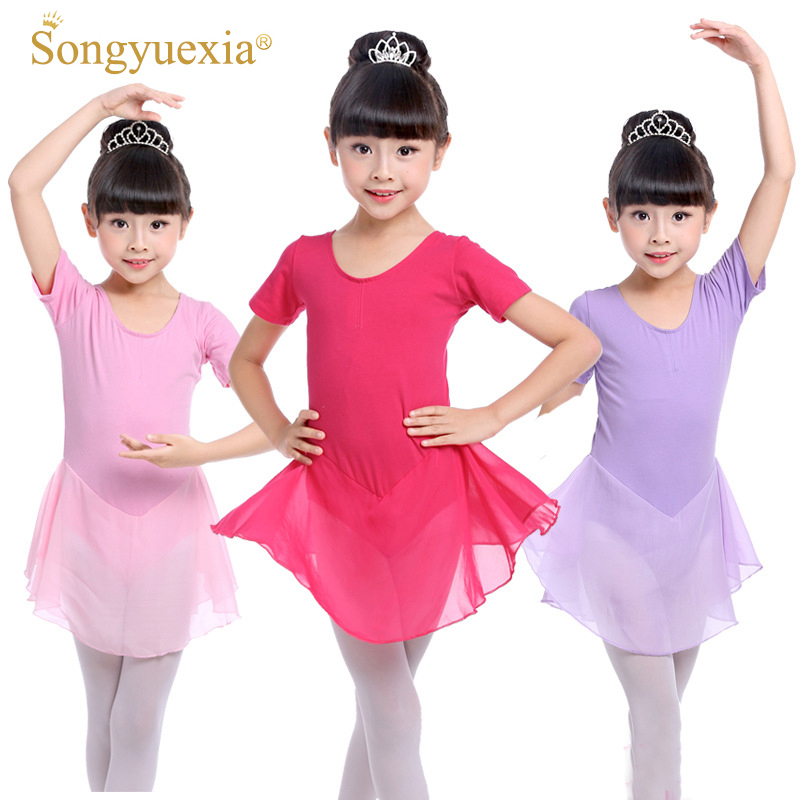 06628c22acb8 Girls Short Sleeve Ballet Leotards Kids Dance Gymnastics Chiffon ...
