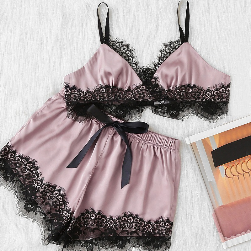 Nightdress Sleepwear Women 2PCS/Set New Arrival Women Sexy Lace Slip Nightgown Silk Satin Babydoll Underwear Sleep Cute Bra