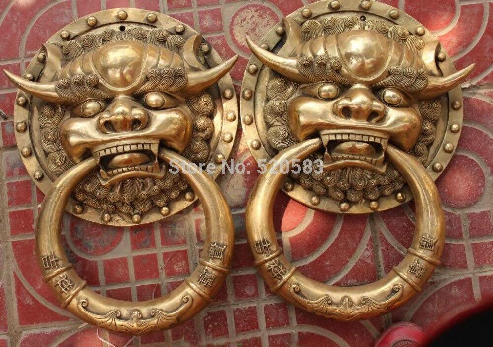Scy 18 Chinese Bronze Fengshui Fu Foo Dog Guardion Lion Head Door