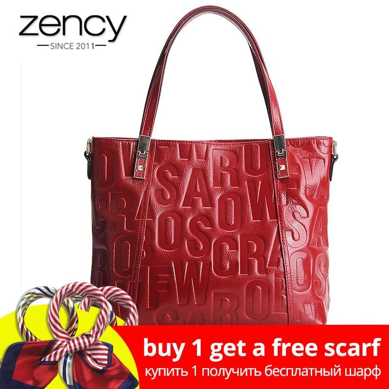 Zency Luxury Sieviešu plecu soma 100% dabīgā ādas modes pelēka Messenger Lady šarmu tumši sarkana rokassomu Crossbody maku