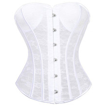 138633ccc69 New Women s Corset Lace up Sexy Overbust Bustier White Black Waist Cincher  Gotico Panty Bridal Wedding