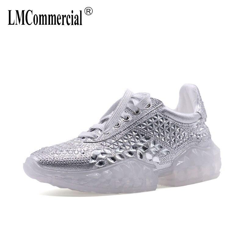 Printemps 2019 Nouvelle Eau Diamant chaussures décontractées, Flash Diamant Transparent Net Rouge chaussures de loisirs femmes mode sneakers femmes