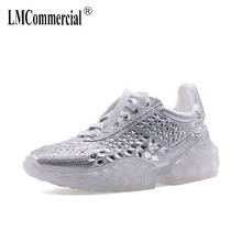 Spring 2019 New Water Diamond casual Shoes,  Flash Diamond Transparent Net Red Leisure Shoes women fashion sneakers women