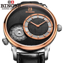 Binger Christmas GMT Sports Watch Men Navigator Quartz watches Luxury brand Casual watch Black Leather wristwatch