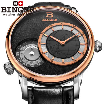 Binger Christmas GMT Sports Watch Men Navigator Quartz watches Luxury brand Casual watch Black Leather wristwatch World Map