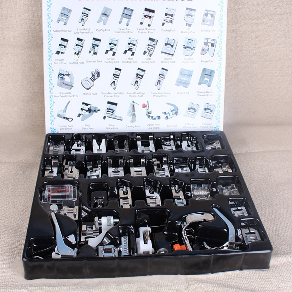 32pcs Domestic Sewing Machine Foot Presser Feet Braiding Blind Stitch Kit Set With Box for Brother Singer Sewing Accessories