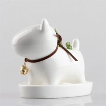Small White Dog Ceramic Planter