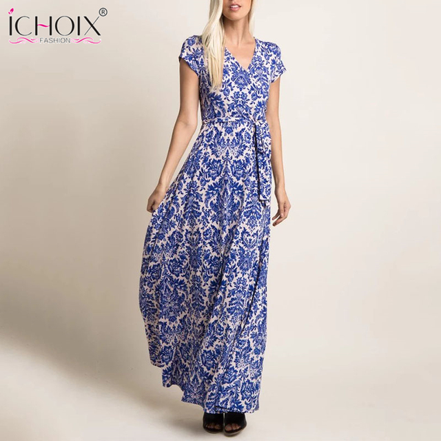 4b495f798f Summer Casual Women Long Dress Chiffon Floral Print Female short sleeve  Maxi Dress V neck Bodycon Bohemian Elegant Party Vestido