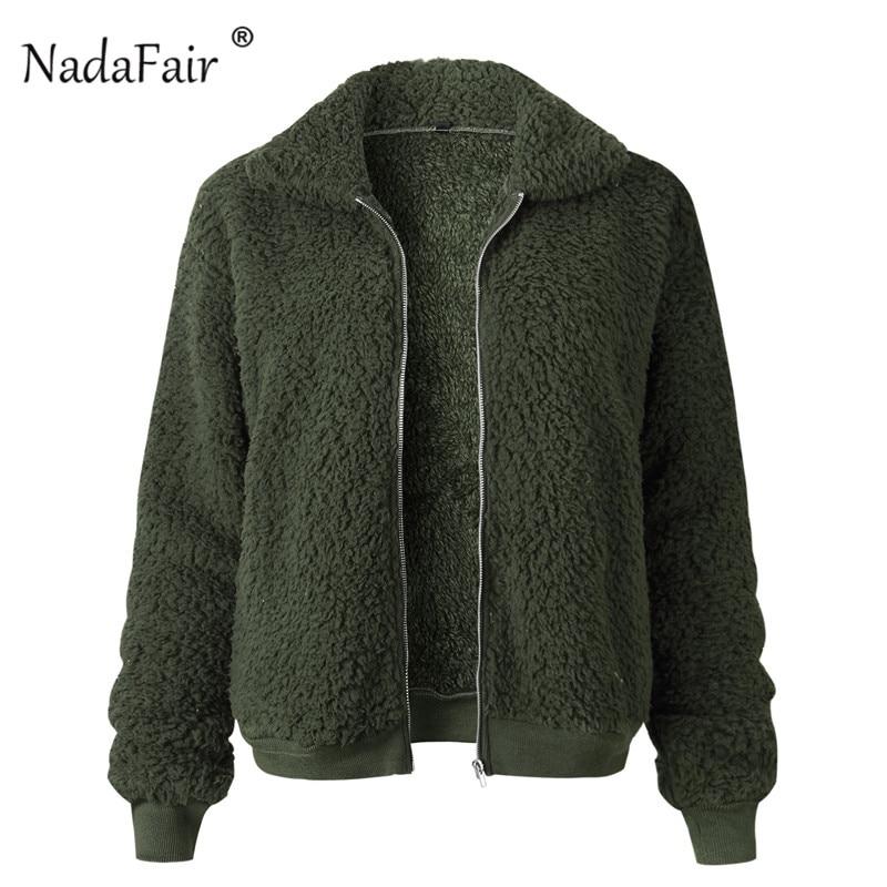 Nadafair Faux Fur Coat Women Autumn Winter Fluffy Teddy Jacket Coat Plus Size Long Sleeve Outerwear Turn Down Short Coat Female 20