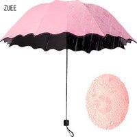 ZUEE Fashion Flower Color Changing Magic Umbrella Folding Windproof Umbrella Anti UV Sun Rain Princess Umbrella