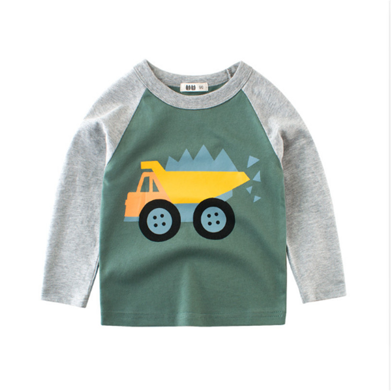 Children's clothing spring new boys long-sleeved T-shirt baby clothes printed cartoon car cotton tops hot selling 2-8T 2019