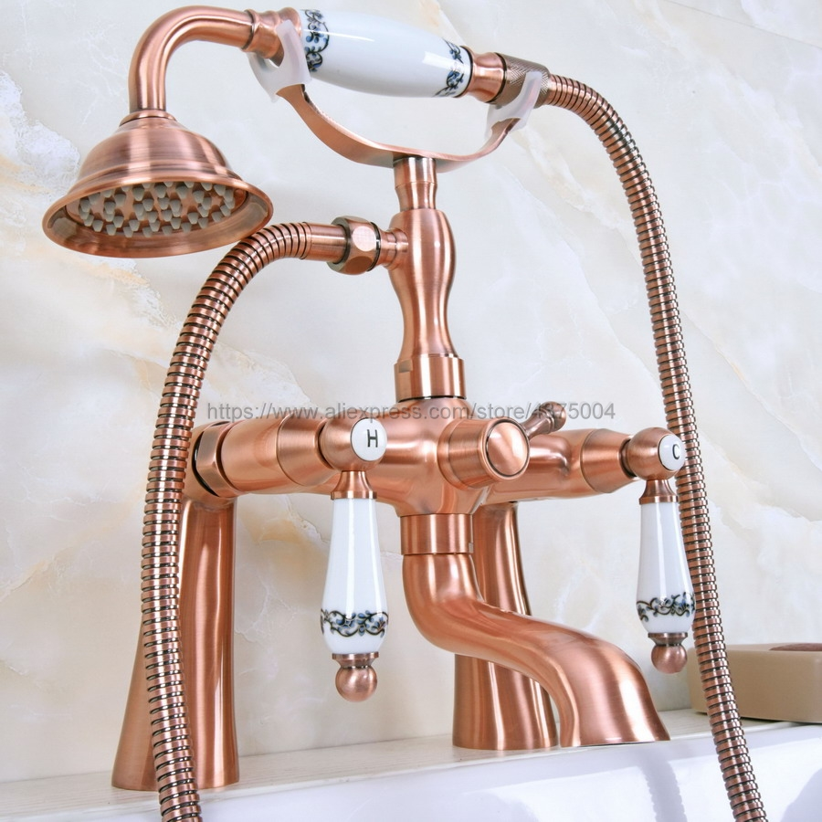 Antique Red Copper Deck Mounted Telephone Shape Spout Bathtub Mixer Tap Dual Handles with hand shower faucets Nna176Antique Red Copper Deck Mounted Telephone Shape Spout Bathtub Mixer Tap Dual Handles with hand shower faucets Nna176