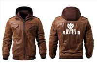 2019 Casual Men's agents of s.h.i.e.l.d Leather Motorcycle Jacket Detachable Hood Winter Jacket Men's Warm Leather Top