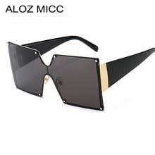 ALOZ MICC Square One Piece Lens Sunglasses Women Oversized Metal Rimless Sun Glasses Men Goggles Gradient Fashion Eyewear Q399