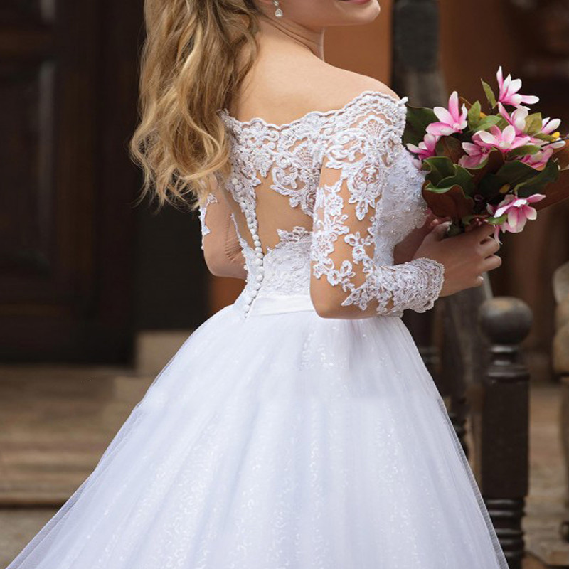Sexy Off the Shoulder Wedding Dresses Tulle Appliques Long Sleeve Custom Made Puffy Bridal Gown Plus Size White Bride Dress in Wedding Dresses from Weddings Events